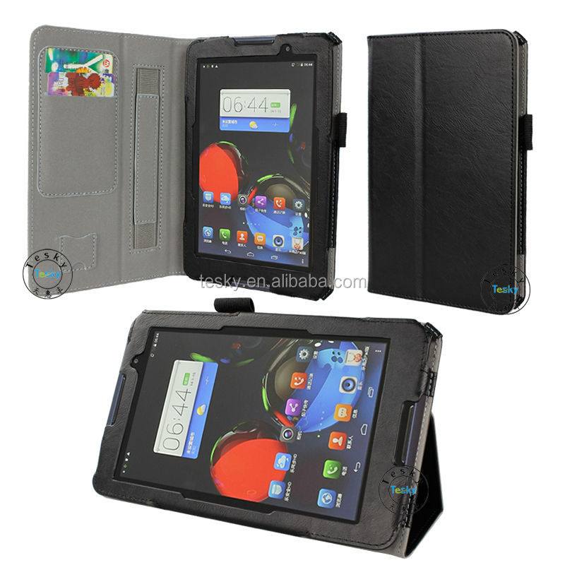 Folding Stand PU Leather Case Cover For Lenovo A7-50 A3500 7 Inch Tablet PC Black