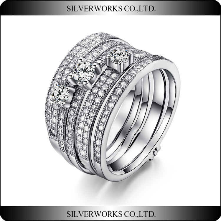 Fashion 925 sterling silver jewelry wave design elegant engagement wedding ring wholesale