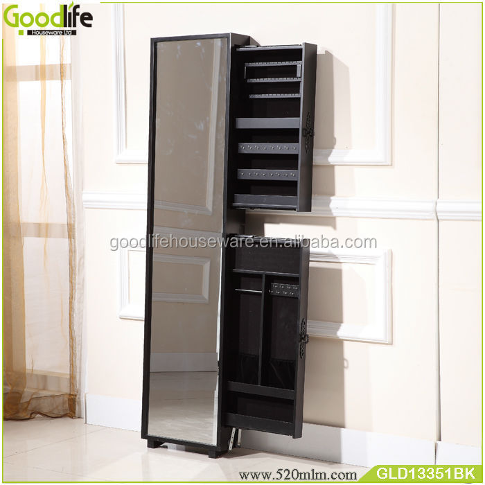Black wooden cabinet mirror jewelry organizer