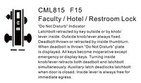 CML815 Faculty/Hotel /Restroom ANSI Commercial Mortise Lock Body