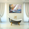 Abstract Sailing Boat Printed Canvas Sea Gull Painting Printed on Canvas Wholesale Framed Seascape Canvas Artwork for Decoration