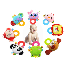 O shape animal head baby teether toys with handbell silicone teether