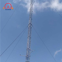 Galvanized triangular guy wire anemometry met mast guyed tower
