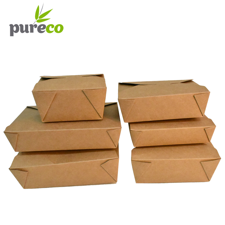 Take out away kraft recycle paper box lunch boxes without window