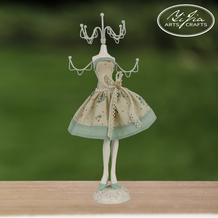 Lovely Resin Doll With Fabric Jewelry Display Stand Unique Necklace Holder