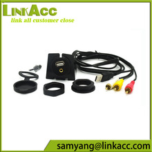 linkacc-sm5 3RCA Male to USB 3.5mm Female Dashboard Panel Aux Extension Flush Mount Cable for Car Boat Motorcycle