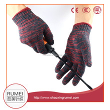 Rumei factory cotton mix red color garden genie hand safeguard gloves