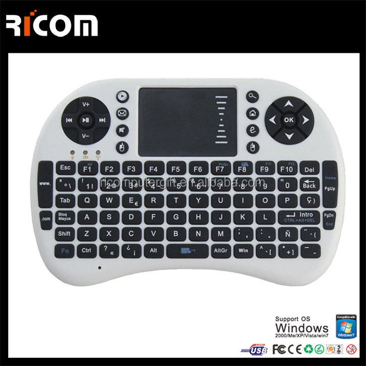 2.4G wireless fly mouse keyboard with touch pad,fly air gyro mouse wireless keyboard--T2--Shenzhen Ricom
