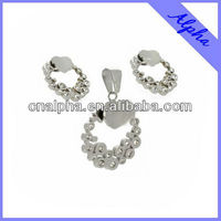 New 2013 surgical steel bisuteria jewelry set hot sale style flower design