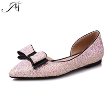 Manufacturer ladies cute shoes with pink bowknot glitter womens flats shoes sandal cut out