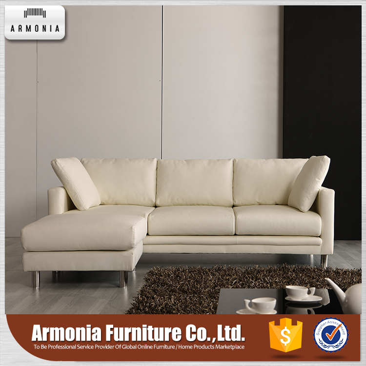 Comfortable sectional white leather sofa