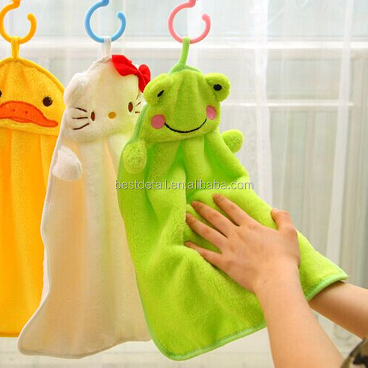 Mixed Wholesale Hand Towel Soft Plush Fabric Cartoon Animal Hanging Bathing Towel