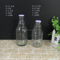 FDA 250ml 350ml glass beverage bottle for juice and fruit vinegar with metal crown cap