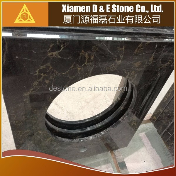 Chinese Black and Gold Marble Vanity Top