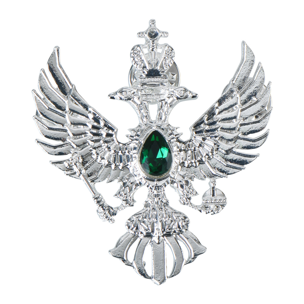 2018 Hot Sale Russia Double-headed Eagle Silver Metal Badge Birthday Gifts