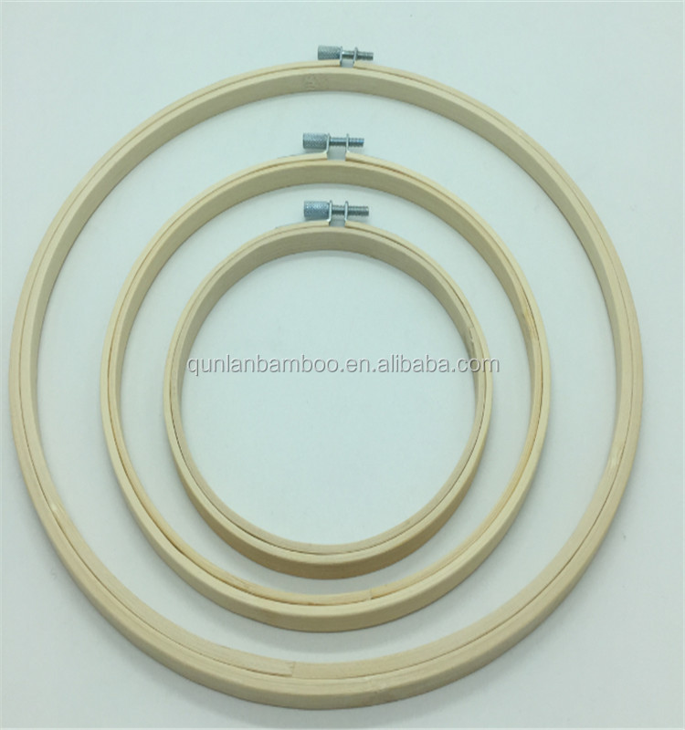 6'' Cross Stitch Supplies Circle Round Natural <strong>Bamboo</strong> Embroidery Hoops Wholesale