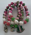 Alpha Kappaa Alpha Sorority thumb Charm Bracelet AKA 1908 pink and green Pearl Bracelet Stretchable fits mostly all wrist sizes