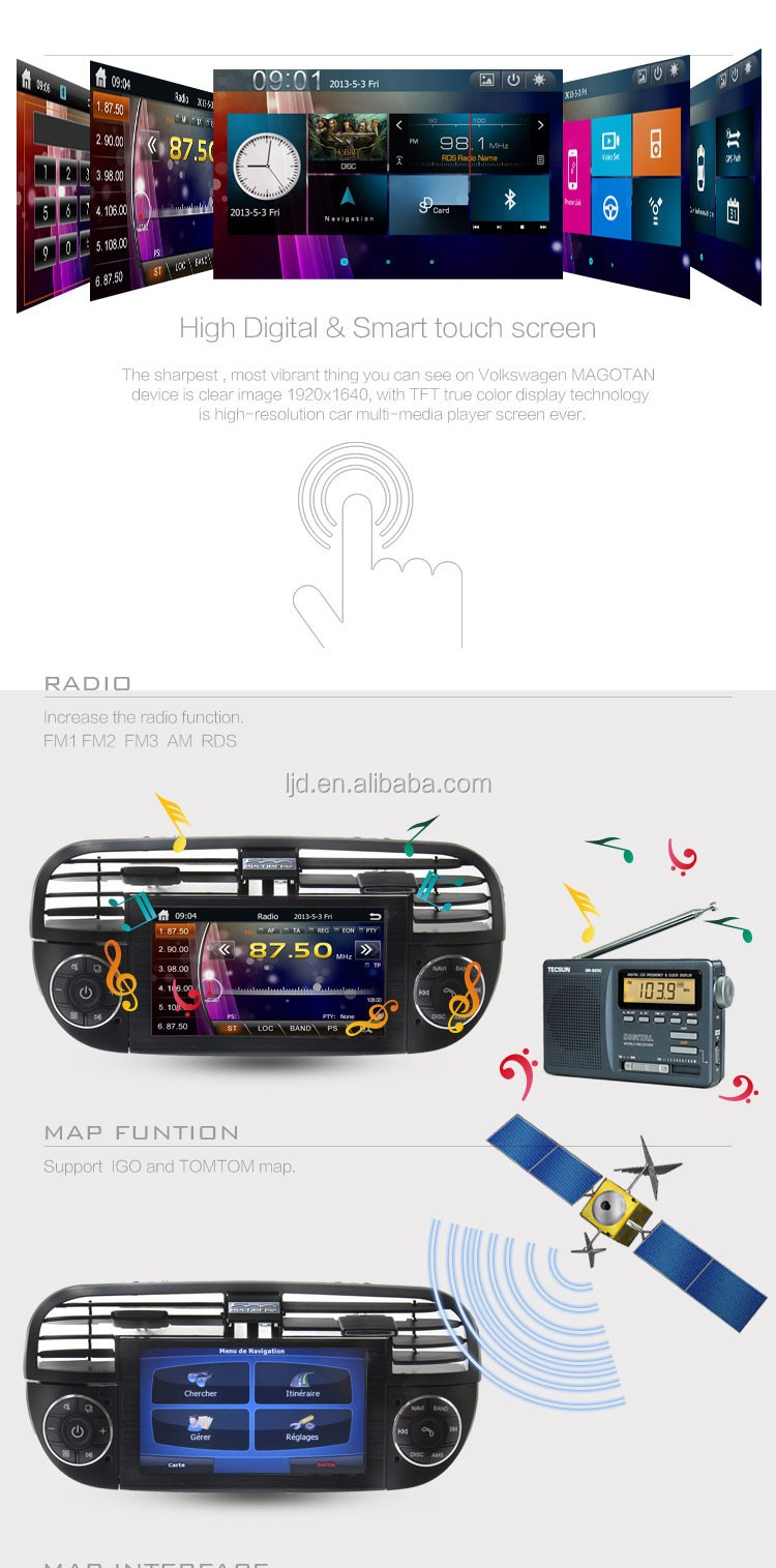car navigation and entertainment system for fiat 500 mp3 mp4 bluetooth function