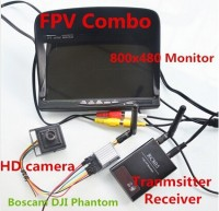 RC FPV Combo 5.8Ghz FPV System with Boscam 5.8G 200mw AV Transmitter Receiver HD Monitor CCTV Camera For DJI Phantom SJ4000