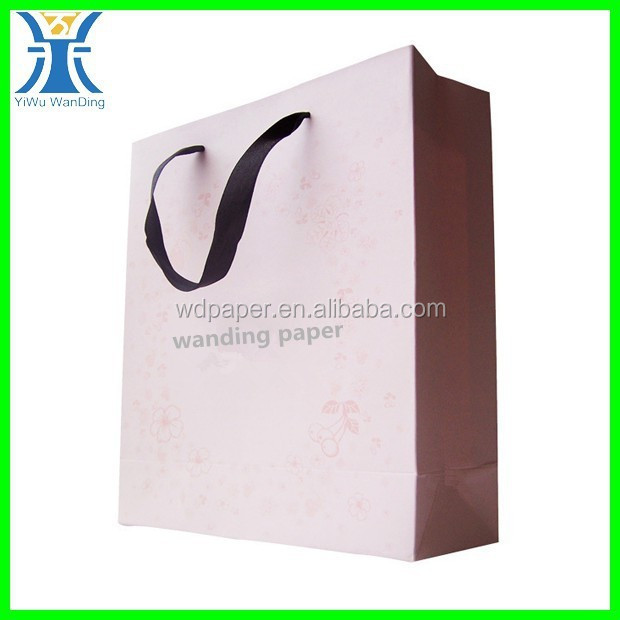 Yiwu 2015 New Arrived luxury decorative make craft paper printed pink plain Paper bags with your own logo