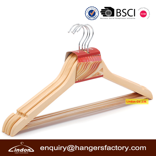 Assessed Supplier LINDON Wood commercial hangers with transparent anti-slip rubber tube