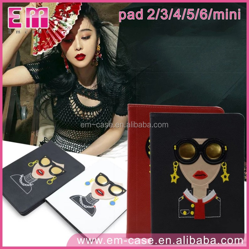 For iPad 23456/Mini1234 Embroidery Fashion Glasses Girl Leather Cover