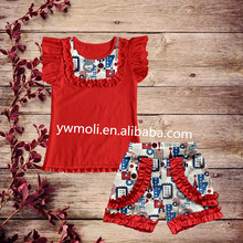 2017moli children's boutique clothing red flutter sleeve top match july 4th pattern ruffle shorts baby clothes summer outfits