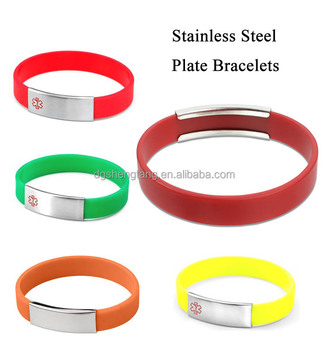 Removeable Medical Aware ID Silicone Stainless Steel Bracelets With Metal Plate