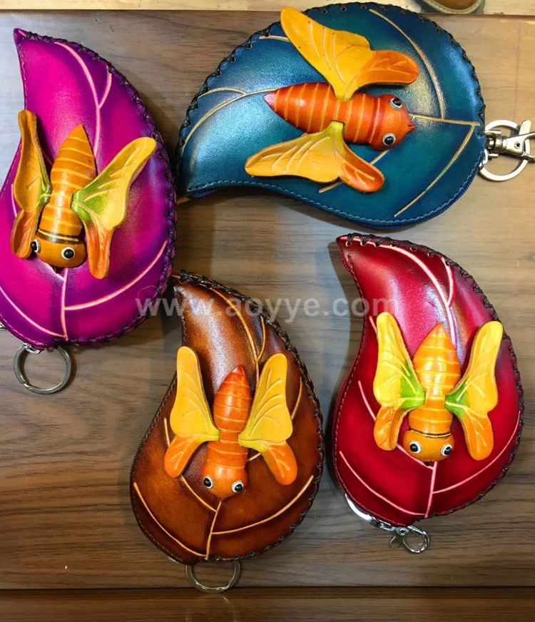 Latest design leather key chain insect leaves cheap change purse