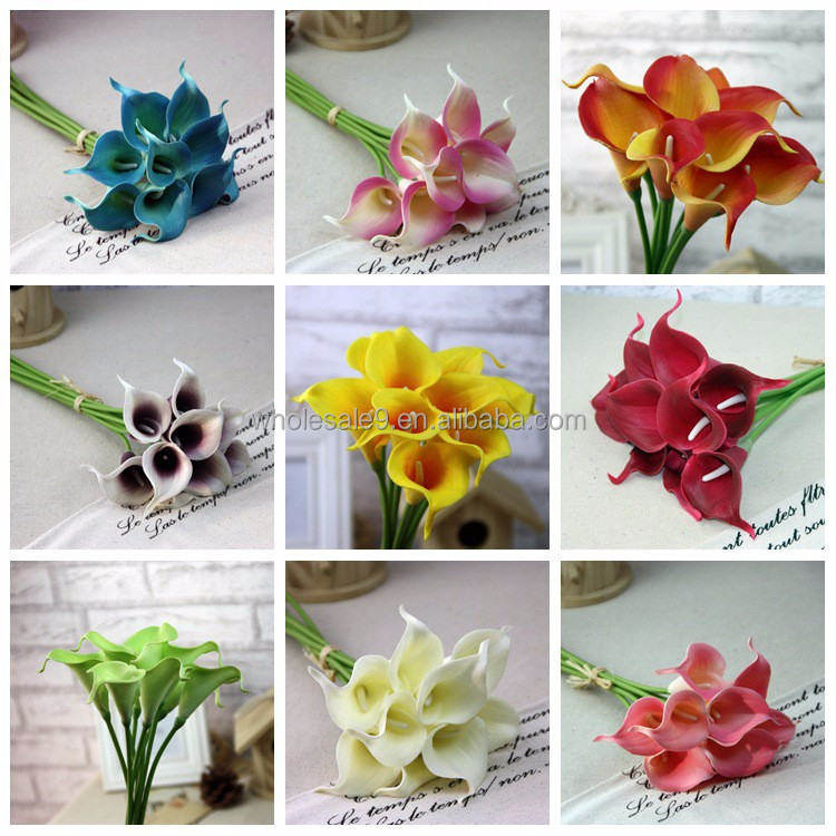 Calla Lily Bridal Wedding Bouquet head Latex Real Touch Artificial Flower Decor Latex Flores Artificiales