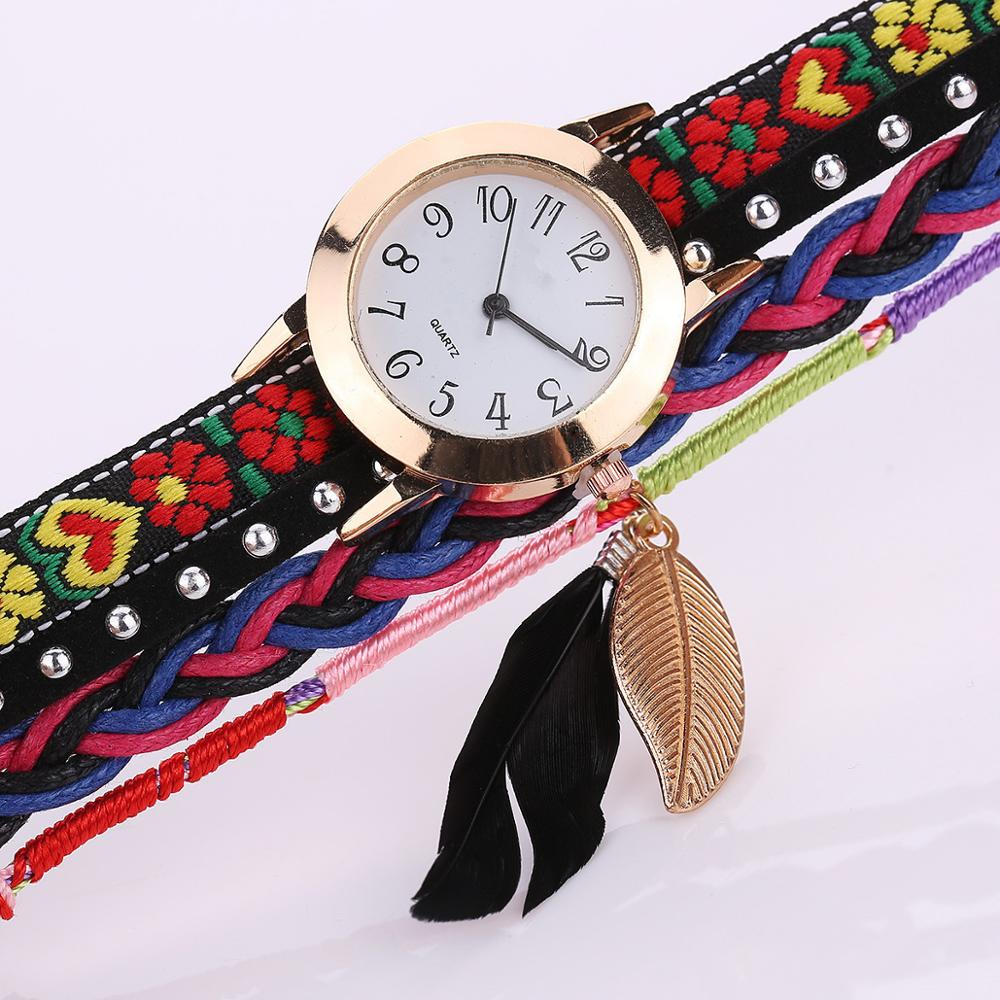Fashion Brand 2017 New Arrive Clock Quartz Watch Women Dress Leather Wristwatches Casual Leaf Pendant Bracelet Watch WW073