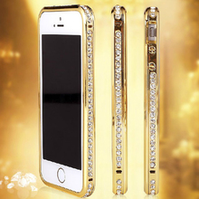High quality phone cases Bling shining crystal diamond edged metal hard bumper case for iphone5/5s,crystal hard bumper case