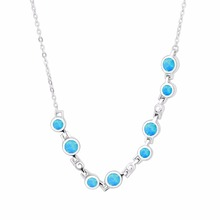 Round Pendant Opal Beads 925 Sterling Silver Necklace