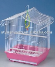 white folding metal bird cage house