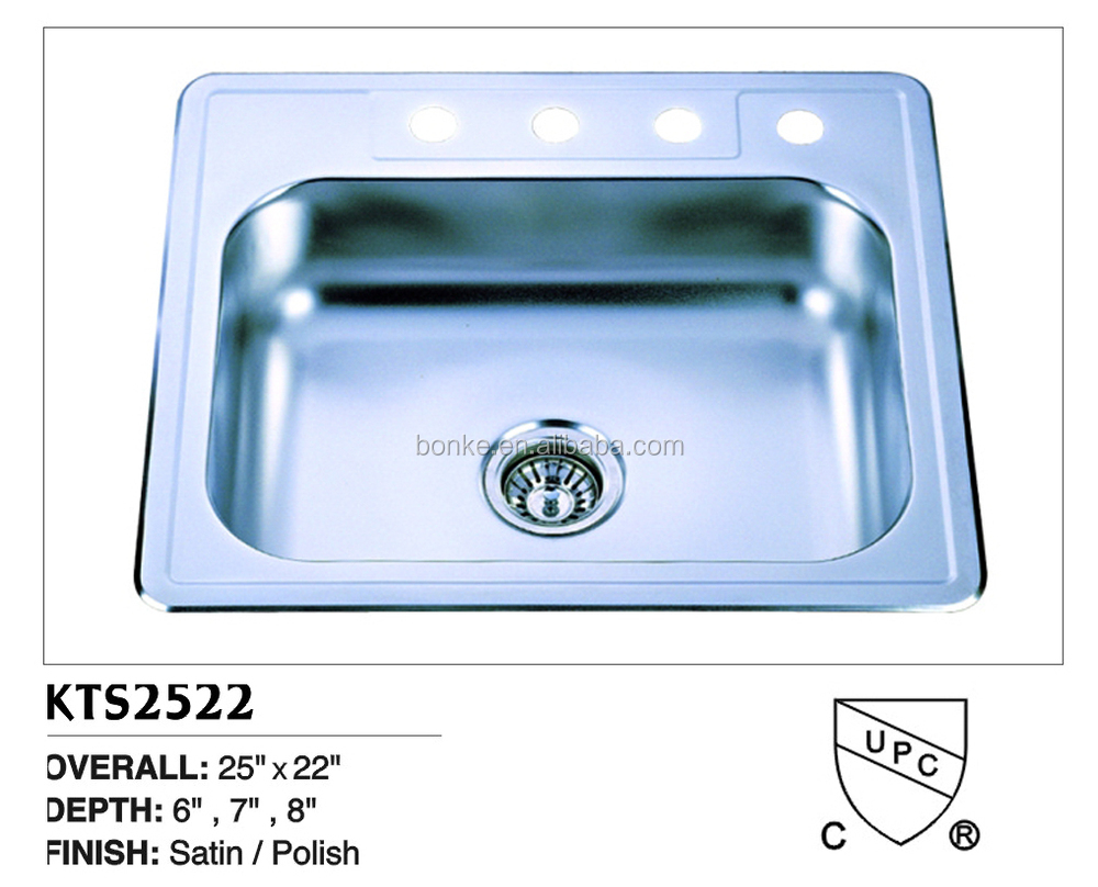 With cupc certificate kitchen top mount single bowl sink - Kitchen sink clips extra long ...