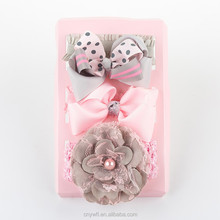 Wholesale baby elastic hairband 3 gift set kids fabric hairband