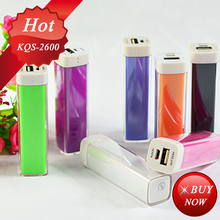 Portable Mobile Lipstick Travel Charger 2600mAh power bank removable battery