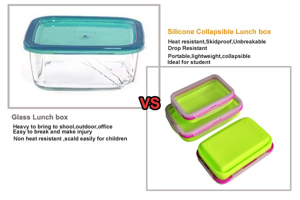 FDA/LFGB approved silicone folding japanese hot lunch box