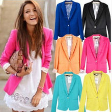 Fanshou 2016 New Arrivals Women Fashion Basic Jacket Tunic Foldable sleeve Coat Candy Colors Cardigan Blazer