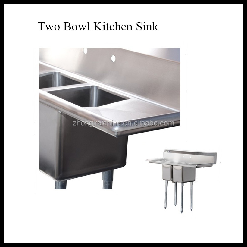high quality handmade 2 bowl stainless steel kitchen sink with drainer