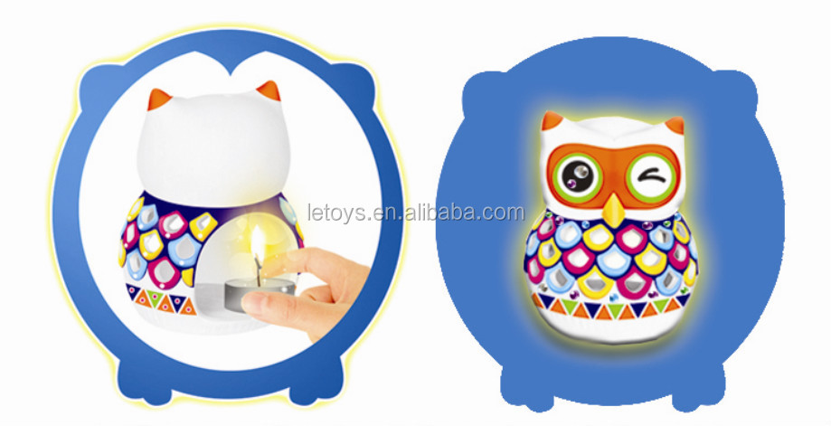 Owl diy painting candlestick diy ceramic toys for decoration animal candleholder
