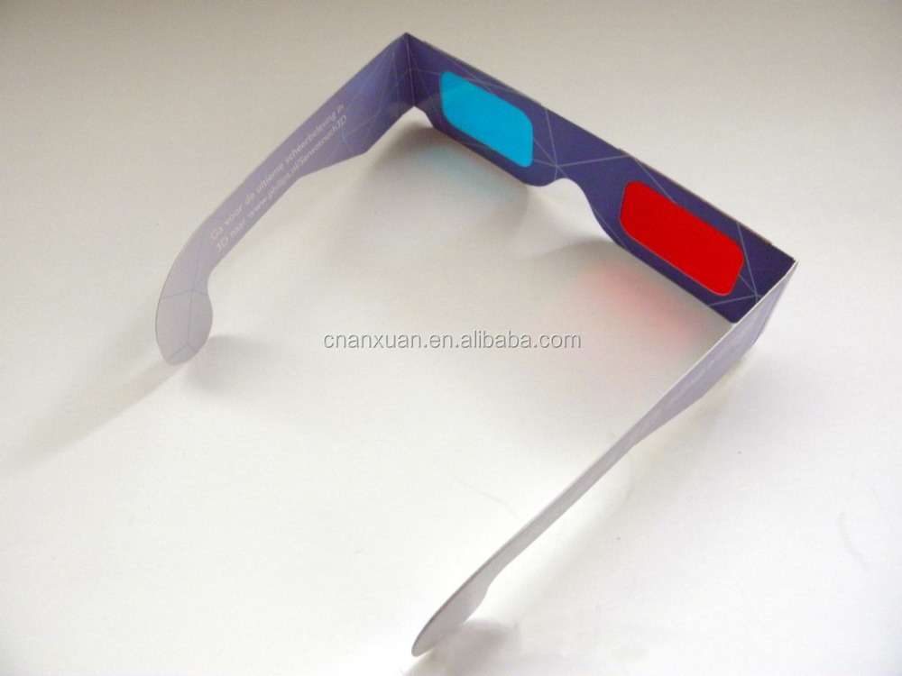 Red Cyan Blue Paper Card 3D Glasses