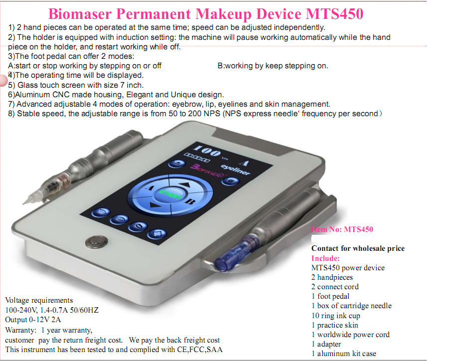 Highest quality digital permanent makeup machine for eye &lips & brow , Square digital device kit