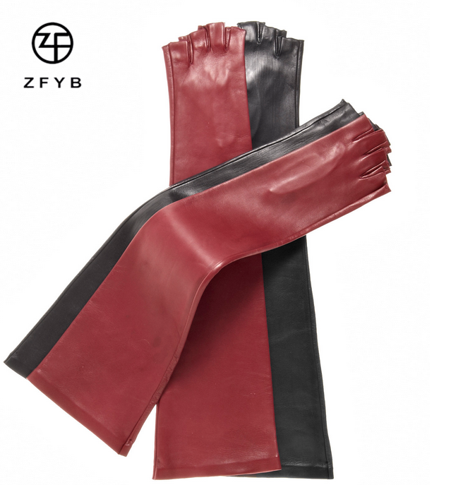 Women's Long Elbow Length Winter Gloves with 1/2 Fingers (8 Button Length)/fingerless gloves