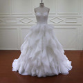 RJU010 unique designer bridal gowns pictures of organza ruffle wedding dressses