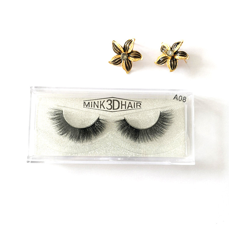 Wholesale Top Quality <strong>A08</strong> 3D Human Hair Mink Eyelash Strip with Private Package