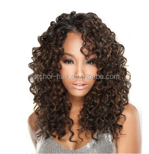Hot sale deep curl #4 virgin brazilian hair full lace wig