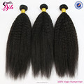 Dijun hair factory relaxed kinky straight hair, 7a virgin remy peruvian hair