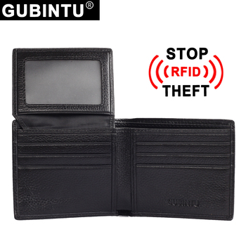 Men's Fashion Black Rfid Leather Wallet