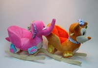 60*32*55cm beautiful customized stuffed plush elephant/mouse animal rocker(chair) toy with wooden base&music